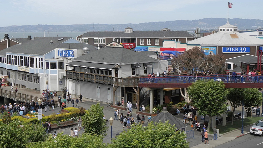 Elevated shot over Pier 39, Fisherman's Wharf, San Francisco, California, United States of America, North America
