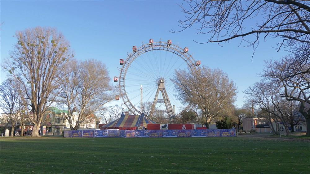Vintage Ferris Wheel in the Viennese Prater in winter, Vienna, Austria, Europe