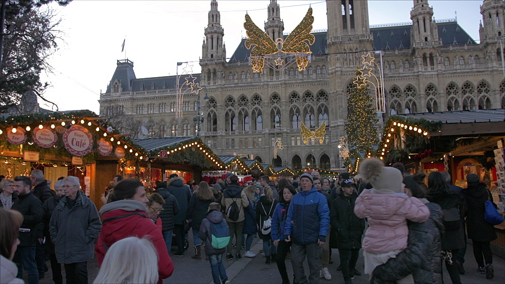 Rathaus and Christmas Market at Christmas, Vienna, Austria, Europe