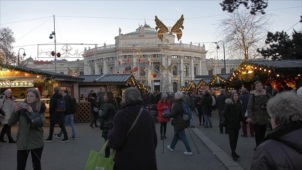 Christmas Market and Burgtheater at Christmas, Vienna, Austria, Europe
