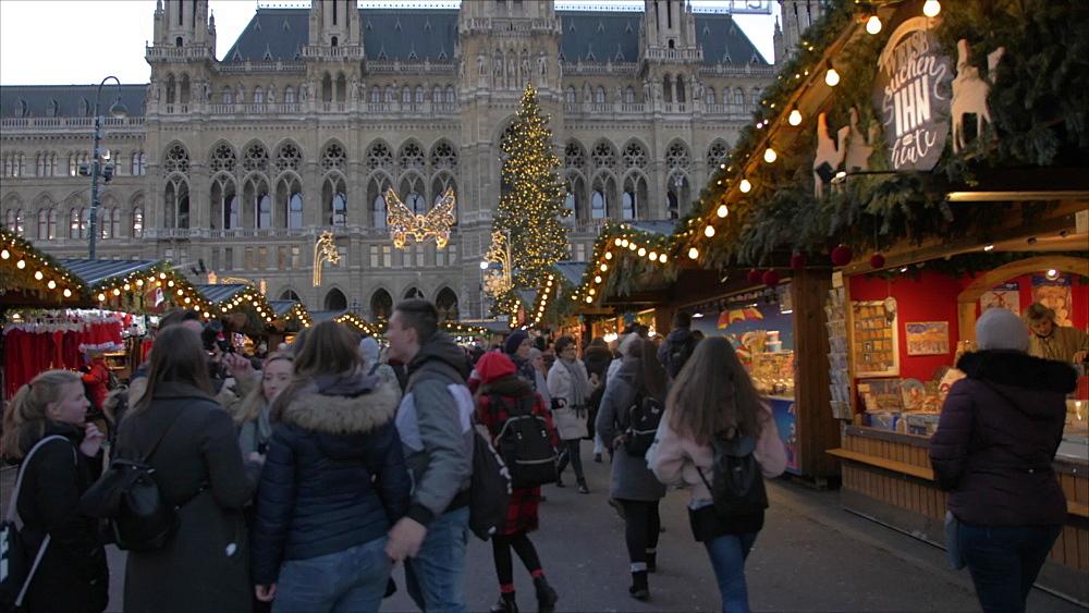 Christmas Market and Rathaus at Christmas, Vienna, Austria, Europe