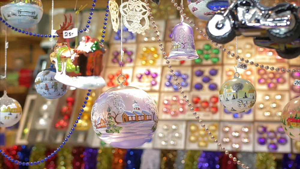 Shot of Christmas decorations on market stall on Rathausplatz at Christmas, Vienna, Austria, Europe