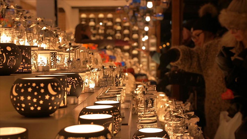 Shot of candle holder stall on Rathausplatz at Christmas, Vienna, Austria, Europe