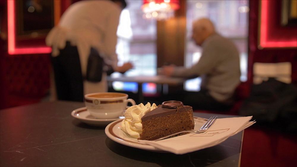 Shot of traditional Sacher Chocolate Cake, Vienna, Austria, Europe