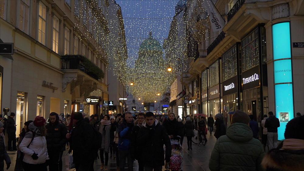 View of Christmas lights on Kohlmarkt at dusk, Vienna, Austria, Europe