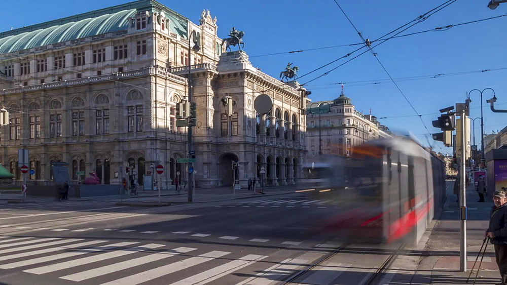 Time Lapse of traffic on Opernring and Opera House, Vienna, Austria, Europe