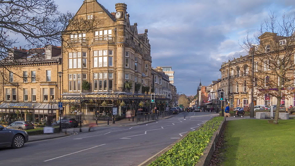 Time Lapse of people and traffic at Betty's Tea Rooms, Harrogate, North Yorkshire, England, United Kingdom, Europe