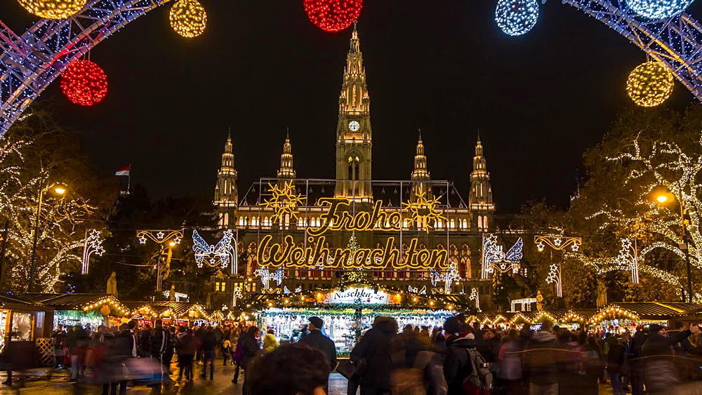 Time Lapse of Christmas Market in Rathausplatz at night, Vienna, Austria, Europe