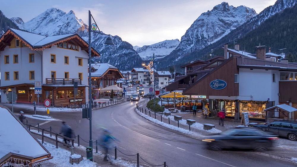 Time Lapse of people and traffic on Strada Dolomites, Canazei, Province of Trento, Trentino-Alto Adige/Sudtirol, Italian Dolomites, Italy, Europe