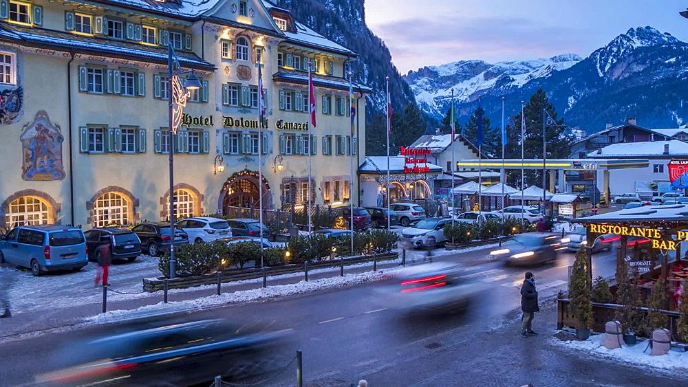 Time Lapse of people and traffic on Strada Dolomites, Canazei, Province of TrentoTrentino-Alto Adige/Sudtirol, Italian Dolomites, Italy, Europe