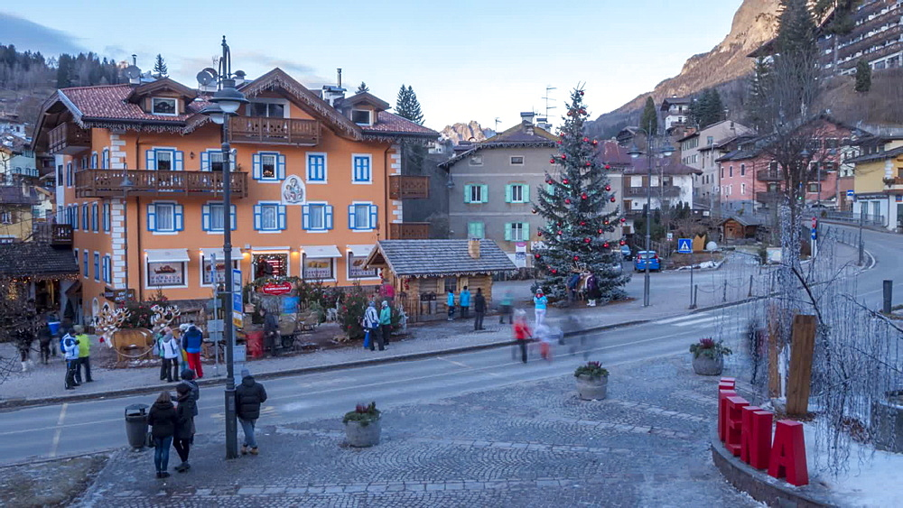 Time Lapse of people on main street and Christmas tree in Moena, Province of Trento, Trentino-Alto Adige/Sudtirol, Italian Dolomites, Italy, Europe