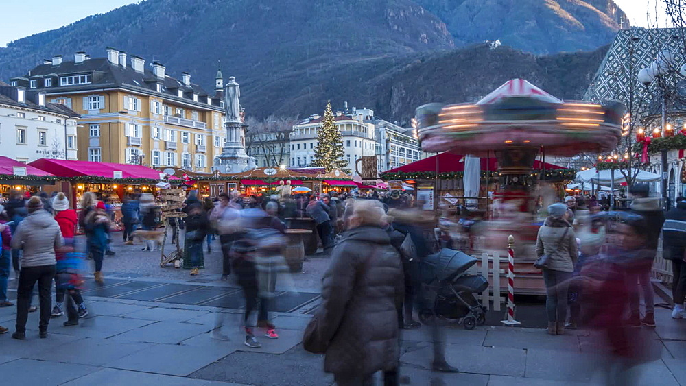 Time Lapse of people and Christmas Market in Waltherplatz, Bolzano, Province of Bolzano, Italian Dolomites, Italy, Europe
