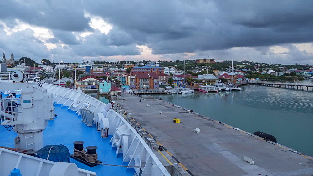Time Lapse of cruise ship leaving St. John's, Antigua, Antigua and Barbuda, Caribbean, West Indies, Central America