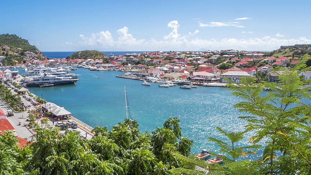 View from elevated position of the harbour, Gustavia, St. Barthelemy (St. Barth), West Indies, Caribbean, Central America