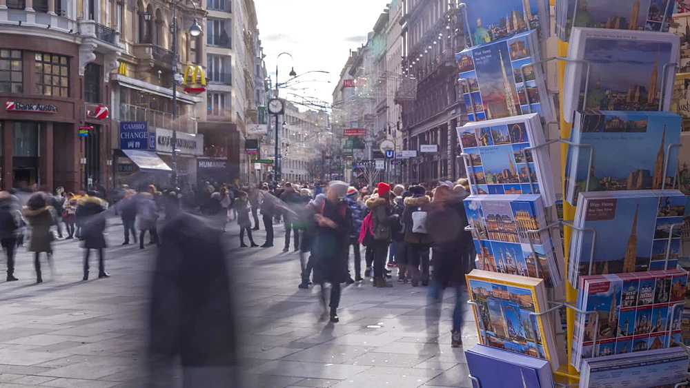 Time Lapse of postcards and people in Graben at Christmas, Vienna, Austria, Europe
