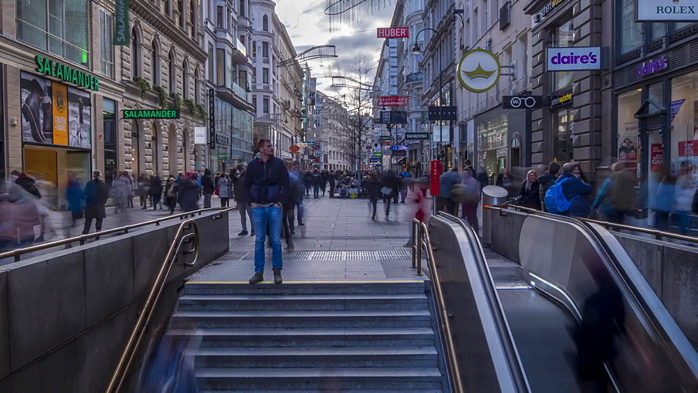 Time Lapse of metro entrance and people in Seilergasse at Christmas, Vienna, Austria, Europe