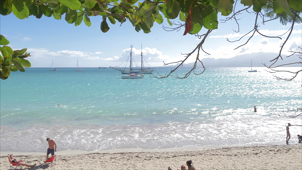Boats and beach at La Datcha, Pointe-a-Pitre, Guadeloupe, French Antilles, West Indies, Caribbean, Central America