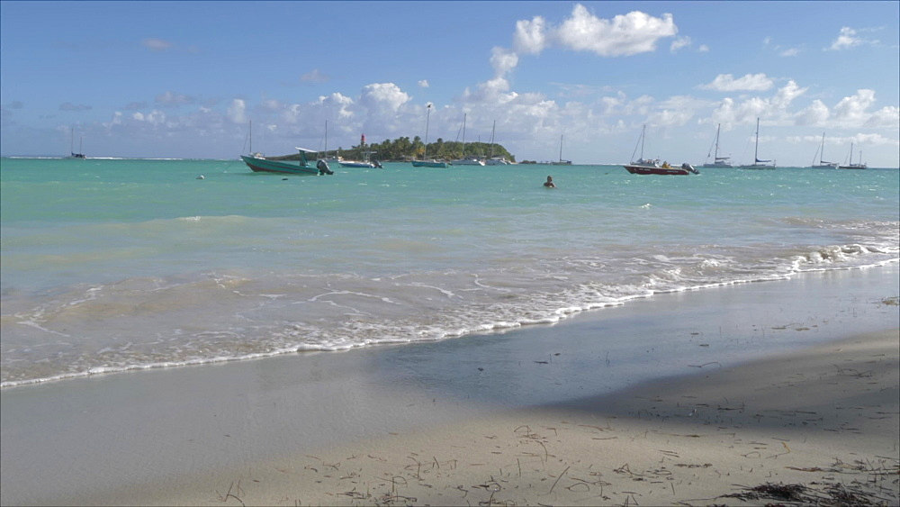 Boats and beach at La Datcha, Le Gosier, Pointe-a-Pitre, Guadeloupe, French Antilles, West Indies, Caribbean, Central America