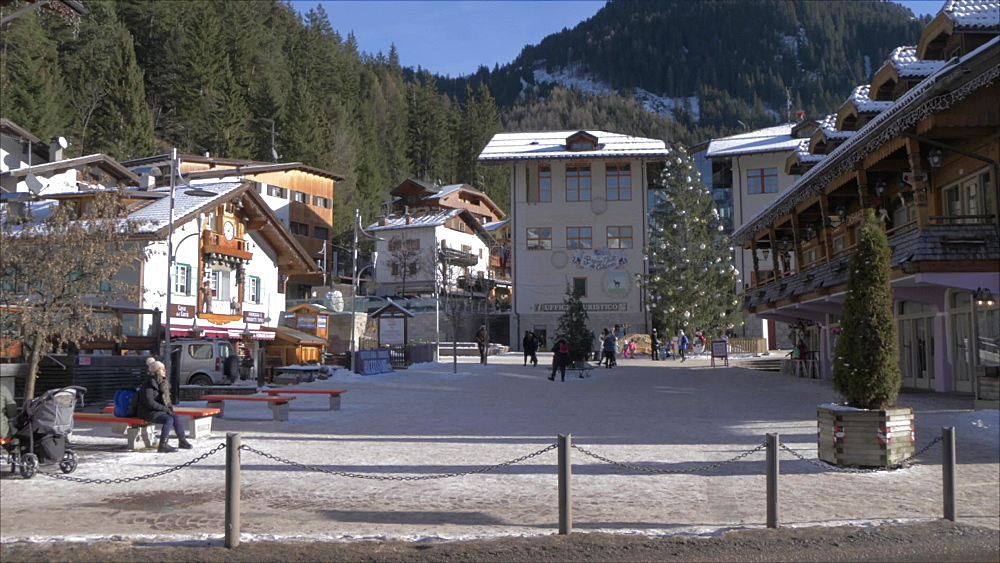 View of town centre of Canazei on sunny day at Christmas, Province of Trento,Trentino-Alto Adige/Sudtirol, Italy, Europe