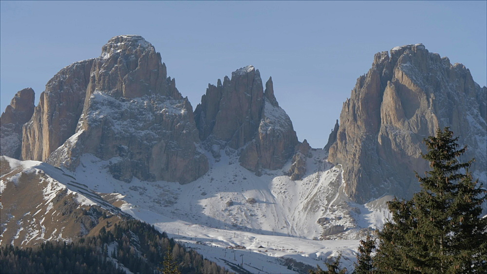 View of Sella Towers from Pecol on sunny day in winter, Province of Trento, Trentino-Alto Adige/Sudtirol, Italian Dolomites, Italy, Europe