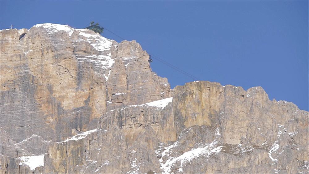 View of Pordoi cable car, Piz Pordoi, Pordoi Pass, Fassa Valley, Trentino, Trentino-Alto Adige/Sudtirol, Dolomites, Italy, Europe