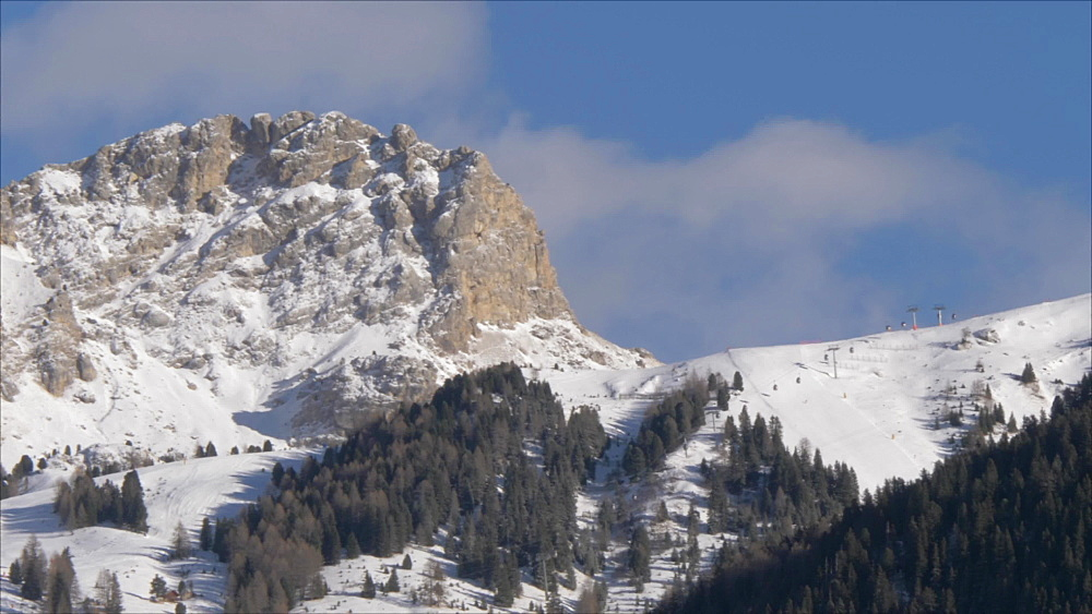 Marmolada from Canazei town in winter, Italian Dolomites, UNESCO World Heritage Site, Province of Trento, Italy, Europe