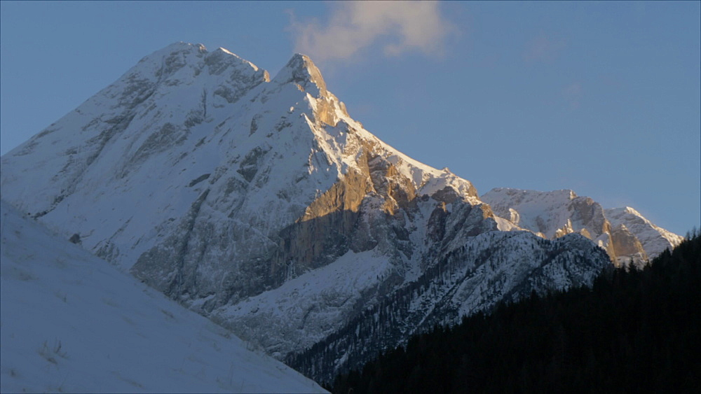 Marmolada from Campitello di Fass in winter, Italian Dolomites, UNESCO World Heritage Site, Province of Trento, Italy, Europe