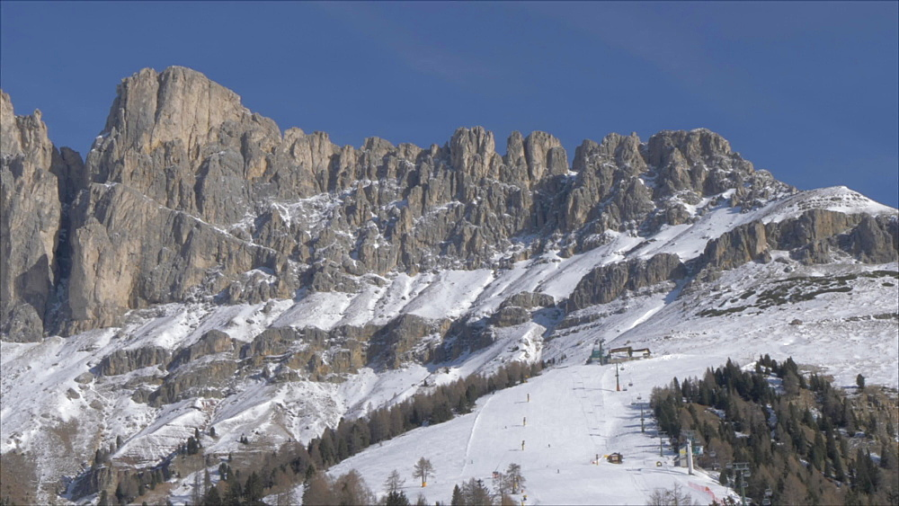 View of Rosengarten group from Carezza on sunny day in winter, Province of Trento, Italian Dolomites, Italy, Europe