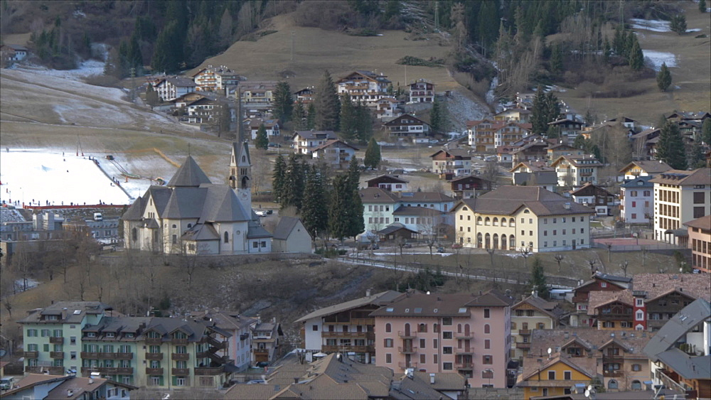 Panoramic view of Moena on sunny day in winter, Province of Trento, Italian Dolomites, Italy, Europe