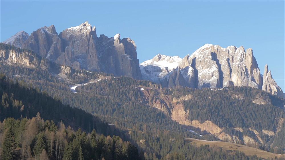Moena on sunny day in winter, Province of Trento, Italian Dolomites, Italy, Europe