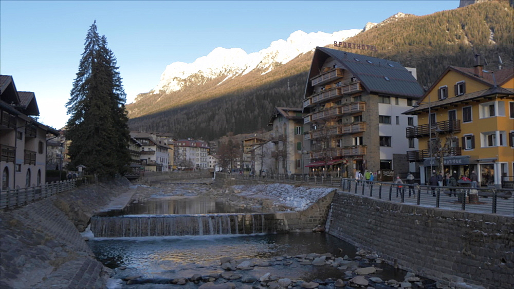 Avisio River in Moena in winter, Moena, Province of Trento, Italian Dolomites, Italy, Europe