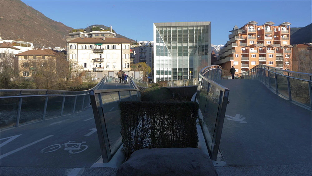 View of Stiftung Museum and bridges over Talvera River in winter, Bolzano, Province of Bolzano, South Tyrol, Italy, Europe