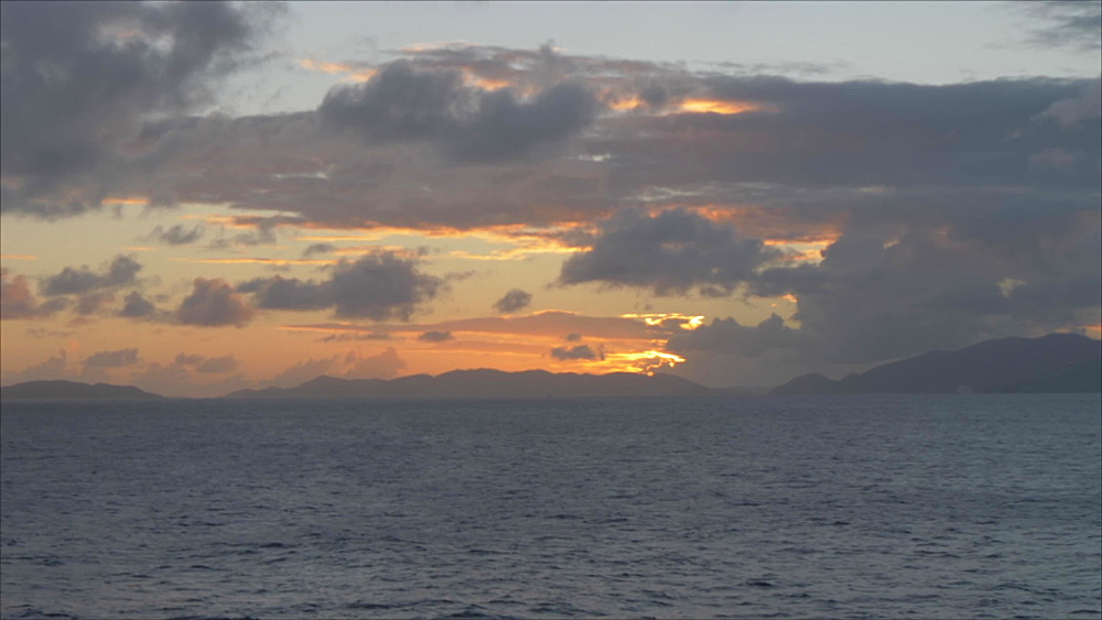 View of sunset over Caribbean Sea, Spanish Town, British Virgin Islands, West Indies, Caribbean, Central America