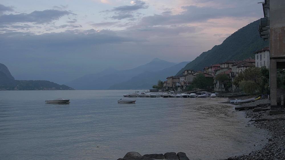 Lake Como from Lezzeno at dusk, Lake Como, Lombardy, Italian Lakes, Italy, Europe