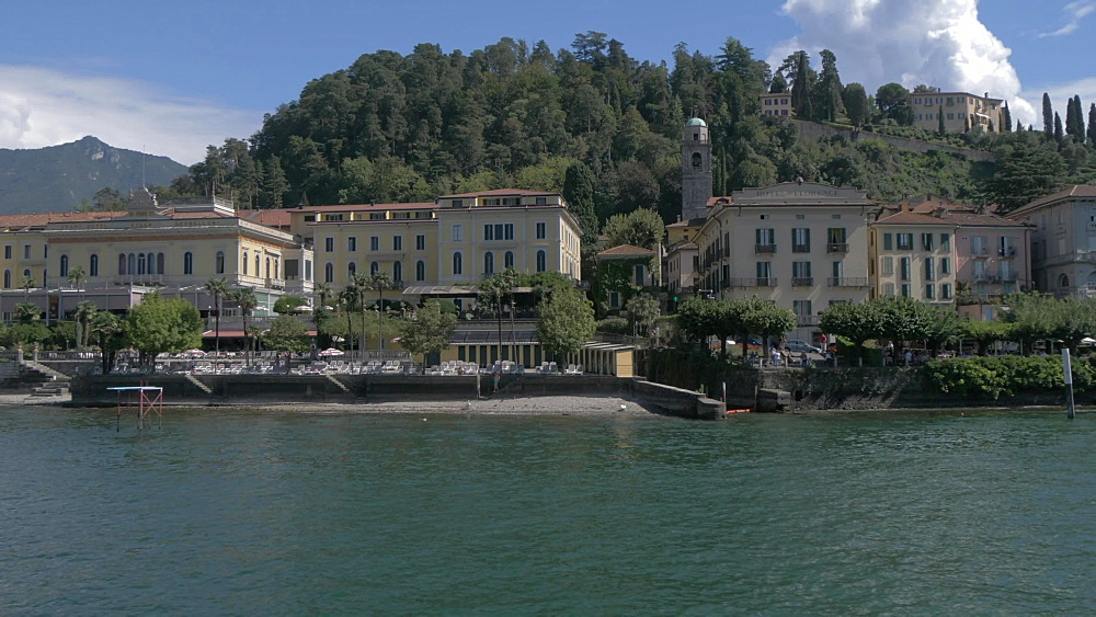 Onboard ferry view leaving Bellagio, Lake Como, Lombardy, Italian Lakes, Italy, Europe