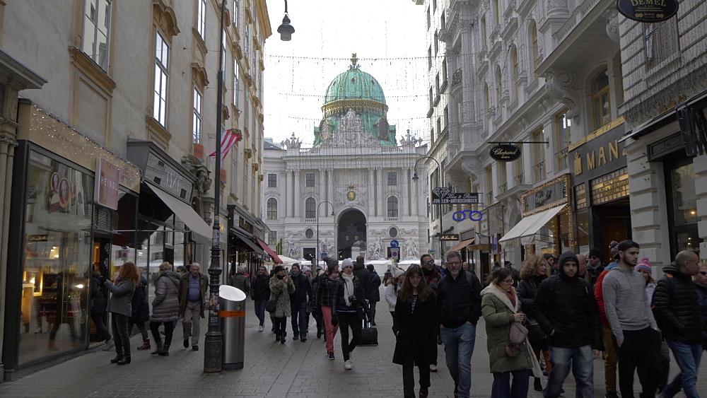 Kohlmarkt leading into Michaelerplatz at Christmas, Vienna, Austria, Europe