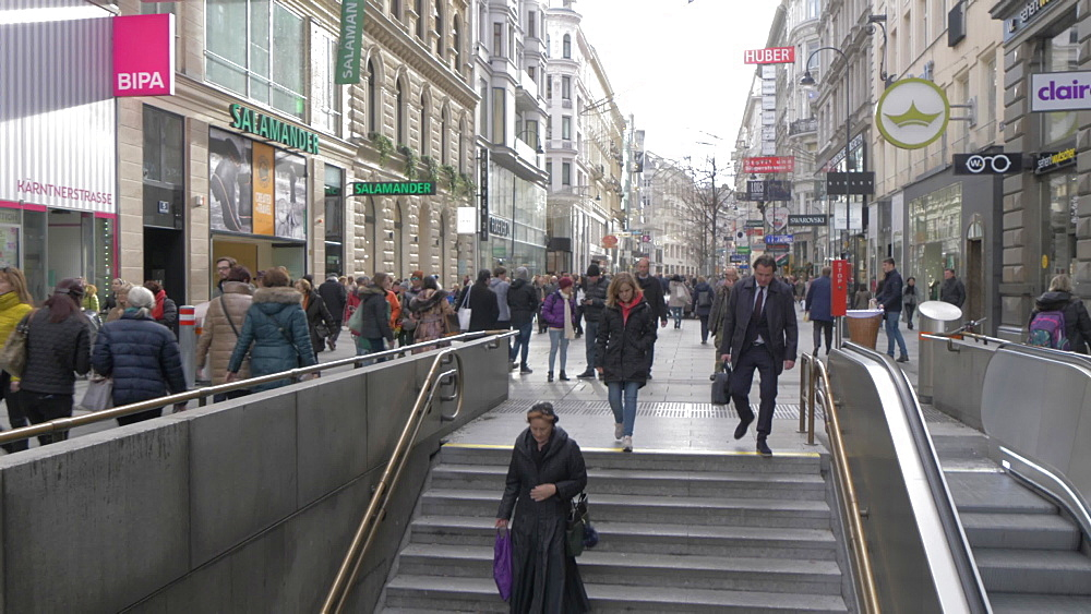 People and subway Karntner Strasse on Graben at Christmas, Vienna, Austria, Europe