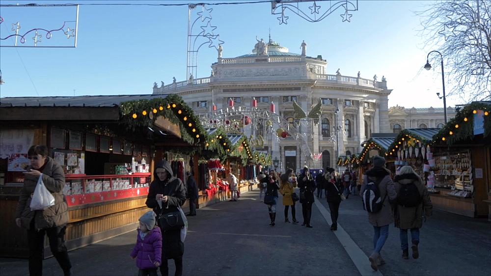 Burgtheater and Christmas Market in Rathausplatz at Christmas, Vienna, Austria, Europe