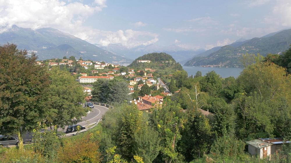 Pan shot of Lake Como from above Bellagio, Lake Como, Lombardy, Italian Lakes, Italy, Europe