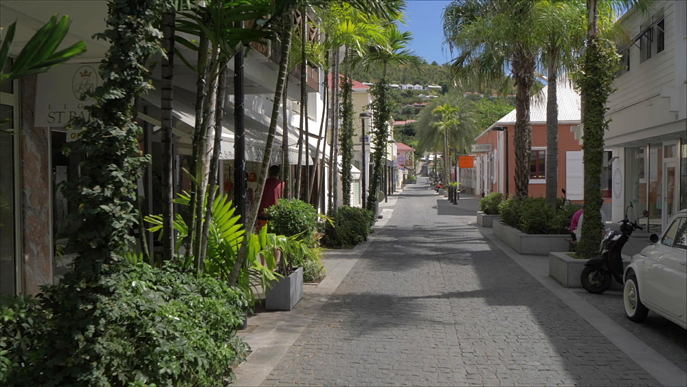 Shopping street, Gustavia, St. Barthelemy (St. Barts) (St. Barth), West Indies, Caribbean, Central America