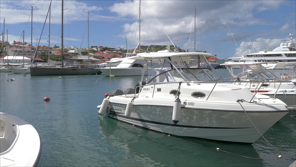 Harbour boats and Fort Oscar, Gustavia, St. Barthelemy (St. Barts) (St. Barth), West Indies, Caribbean, Central America