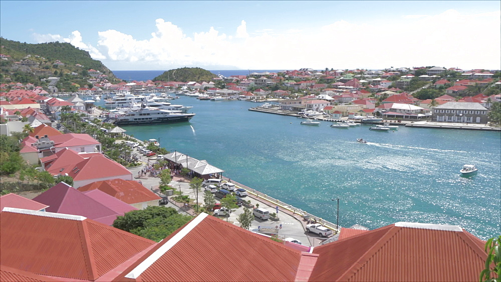 Elevated shot of town and harbour, Gustavia, St. Barthelemy (St. Barts) (St. Barth), West Indies, Caribbean, Central America