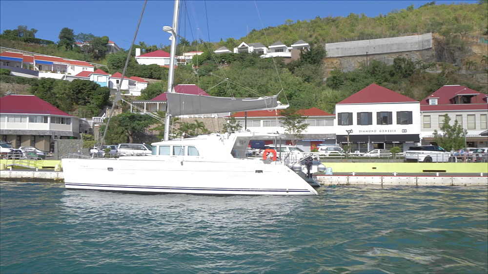 View leaving town from tender boat, Gustavia, St. Barthelemy (St. Barts) (St. Barth), West Indies, Caribbean, Central America