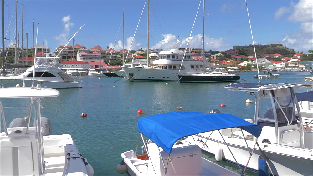 Crane shot of harbour and Fort Oscar, Gustavia, St. Barthelemy (St. Barts) (St. Barth), West Indies, Caribbean, Central America