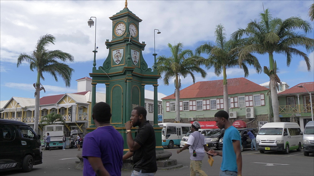 Taxis and Berkeley Memorial, Basseterre, St. Kitts, St. Kitts and Nevis, Leeward Islands, West Indies, Caribbean, Central America