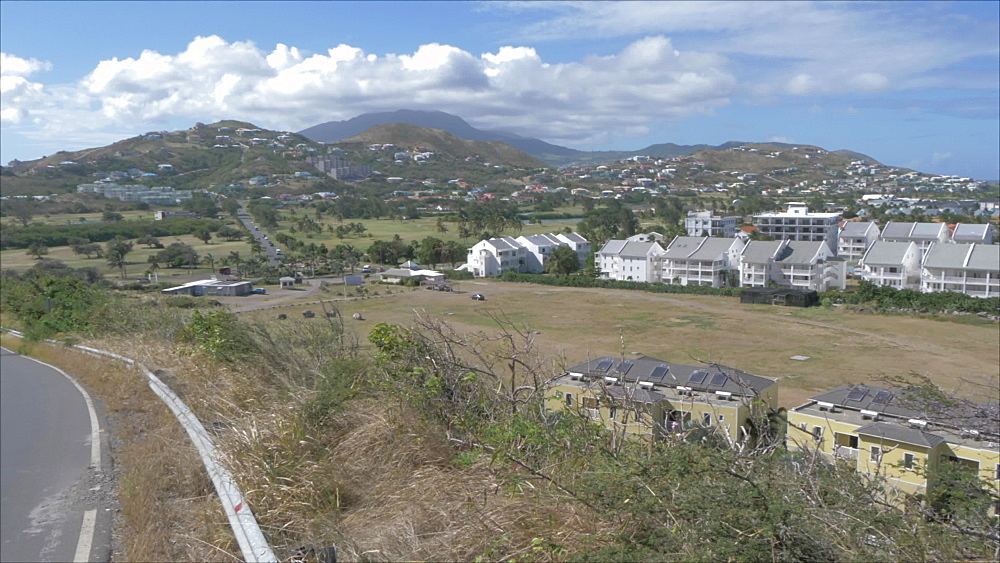 Elevated shot of Kitten Village, St. Kitts, St. Kitts and Nevis, Leeward Islands, West Indies, Caribbean, Central America