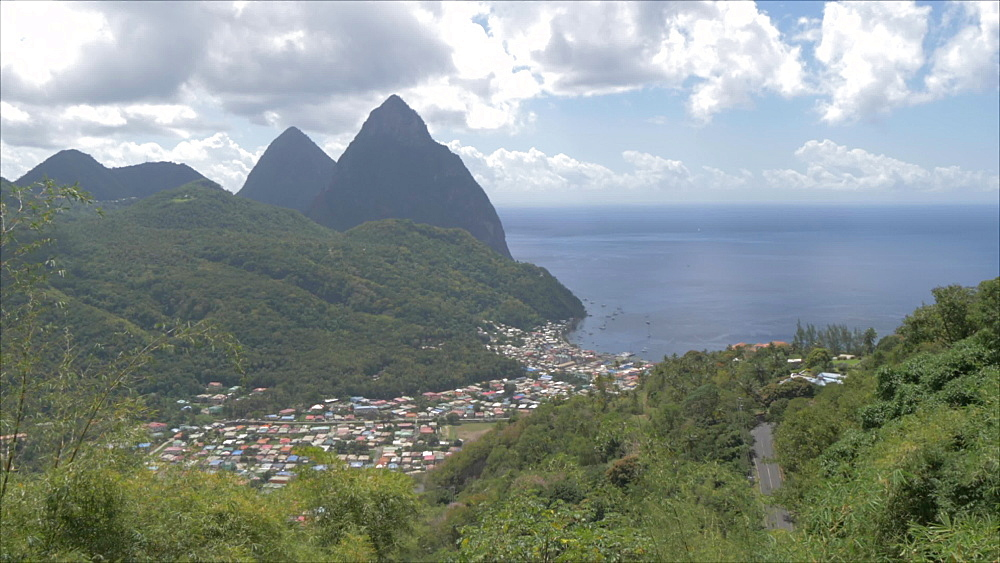 Soufriere with the Pitons, UNESCO World Heritage Site, St. Lucia, Windward Islands, West Indies Caribbean, Central America