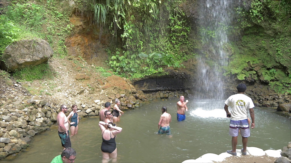 View of people bathing in Toraille Waterfall, St. Lucia, Windward Islands, West Indies Caribbean, Central America