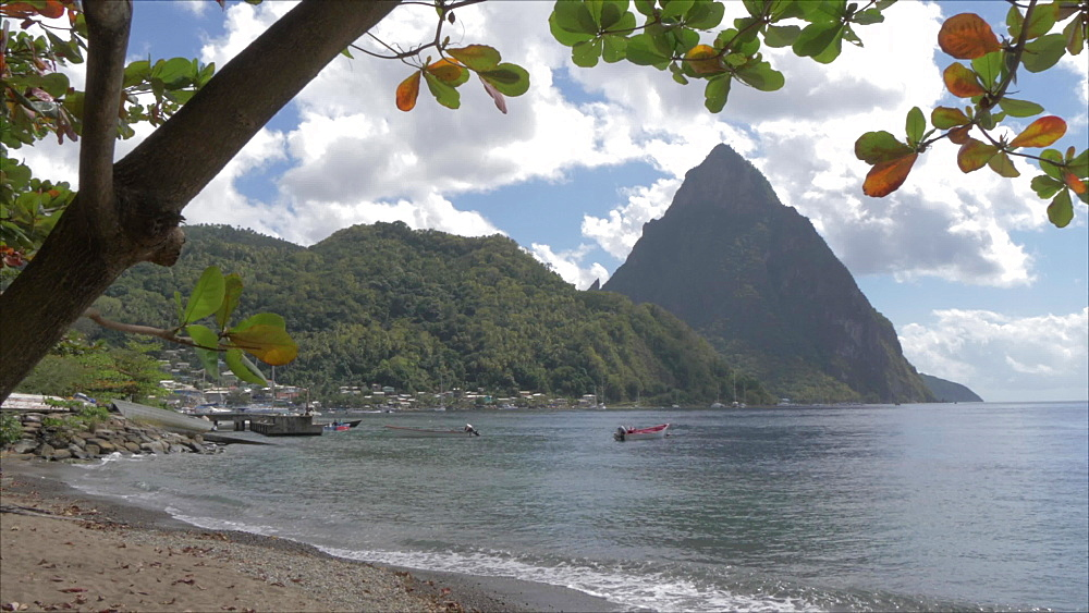 The Pitons from Soufriere beach, UNESCO World Heritage Site, St. Lucia, Windward Islands, West Indies Caribbean, Central America