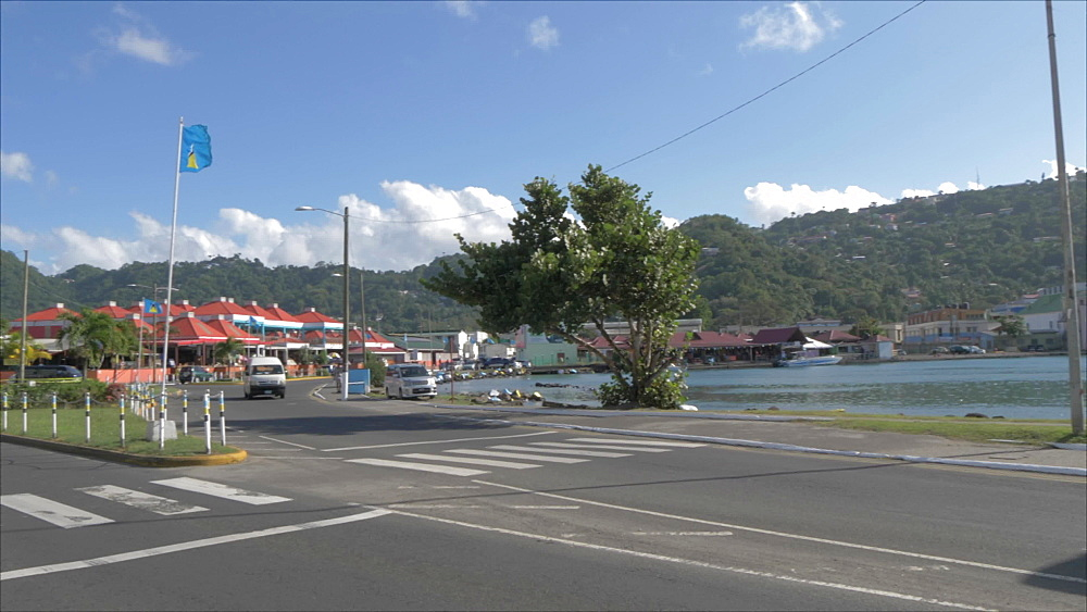 Cruise ship and John Compton Highway, Castries, St. Lucia, Windward Islands, West Indies, Caribbean, Central America